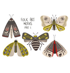 set folk art decorated moths vector image