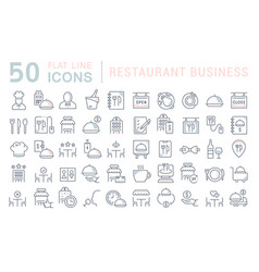 set line icons restaurant business vector image