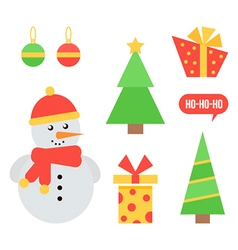 Set of cute christmas and new year icons vector image
