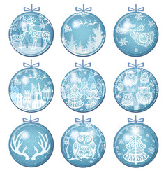 Set of merry christmas decorations with balls vector