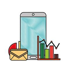 smartphone email message statistics diagram vector image