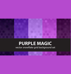 snowflake pattern set purple magic seamless vector image