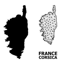 Solid and wire frame map corsica vector