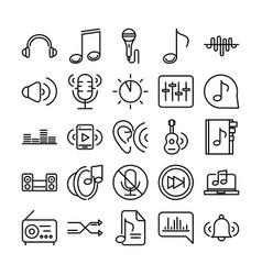 sound audio volume music line style icons set vector image