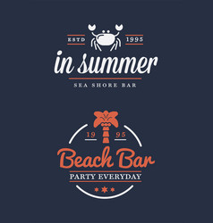 summer retro logo template for banner poster flyer vector image