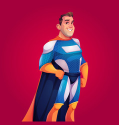 superhero in blue costume with cape vector image