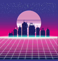 Synthwave retro futuristic landscape with city vector