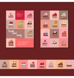Template with different fruit cake slices vector image vector image
