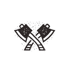 Two crossed axes silhouette vector