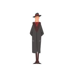 Victorian gentleman character in black coat and vector