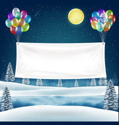 vinyl banner with balloons on night christmas lake vector image