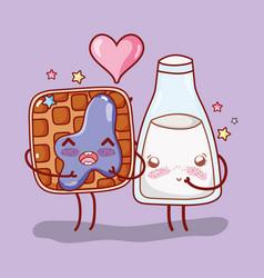 Waffle and milk bottle in love kawaii cartoon vector