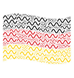 Waving german flag mosaic of sinusoid wave icons vector