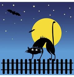 Wild black silhouette cat vector image