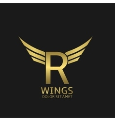 Wings R letter logo vector