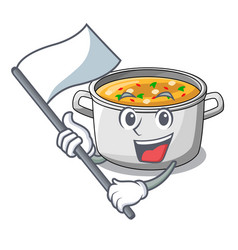 With flag cartoon homemade stew soup in the pot vector