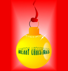 Yellow christmas globe vector