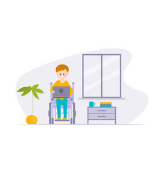 Young disabled man in wheelchair using laptop vector