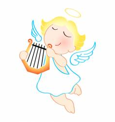 angel with harp vector image vector image