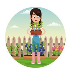 farmer pot plant work garden fence vector image