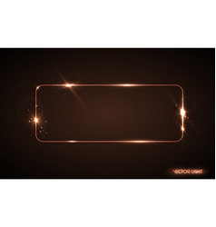glow line golden frame with sparks and vector image