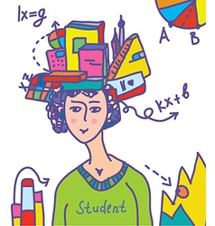 Student with books data infographics vector image