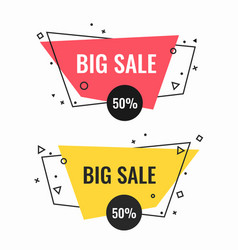 big sale bright isolated promotional emblems set vector image vector image