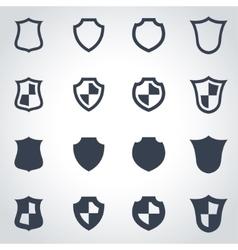 black shield icon set vector image vector image