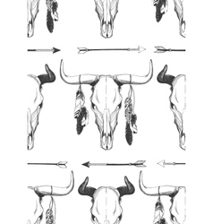Bull skull seamless pattern vector image