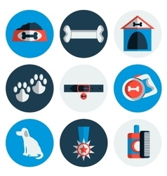 Flat dog icons vector