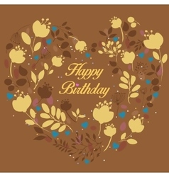 Floral yellow heart with text Happy Birthday vector image vector image