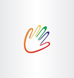 human hand with color fingers vector image