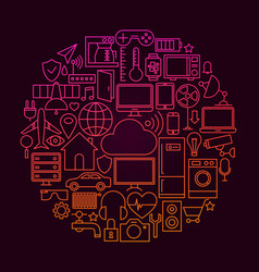 Internet of things line icon concept vector
