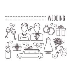Line wedding icons vector image vector image