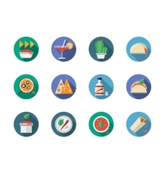 Mexican restaurant round flat color icons vector