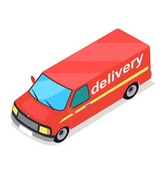red truck of delivery cartoon style flat design vector image vector image