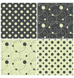 seamless patterns with polka dots and circles vector image vector image