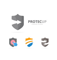 Shield and arrow up logo combination vector