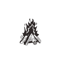 bonfire retro icon vector image vector image