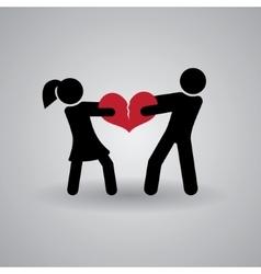 Love and Relationship Stickmans Broken Heart vector image