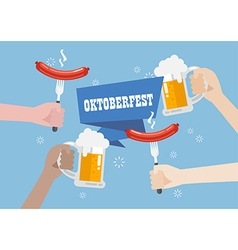 Oktoberfest with a glass of beer and sausage vector