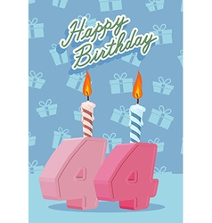 Birthday candle number 44 with flame vector image vector image