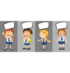 Children in school uniform with speech bubbles vector image
