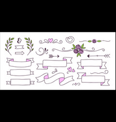collection of banners hearts and floral elements vector image