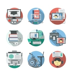 Distance learning detailed flat icons set vector image
