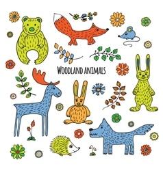 Set forest animals vector