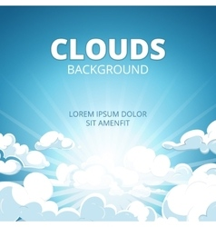 Sunrise in blue sky with clouds background vector image vector image