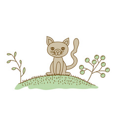 watercolor hand drawn silhouette of cat in hill vector image