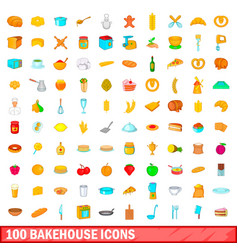 100 bakehouse icons set cartoon style vector
