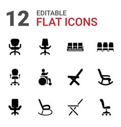 12 armchair icons vector